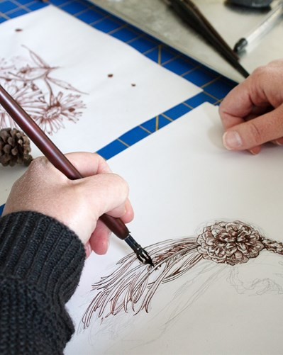 Hand drawing a detailed pinecone in pen